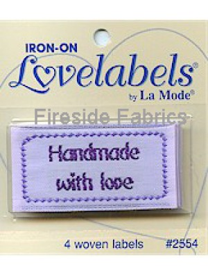 4 LABELS - HANDMADE WITH LOVE -IRON ON
